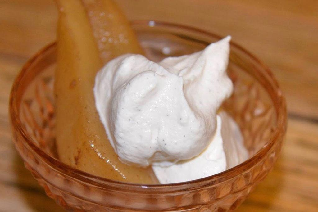 Poached Pears Vanilla Whipped Cream